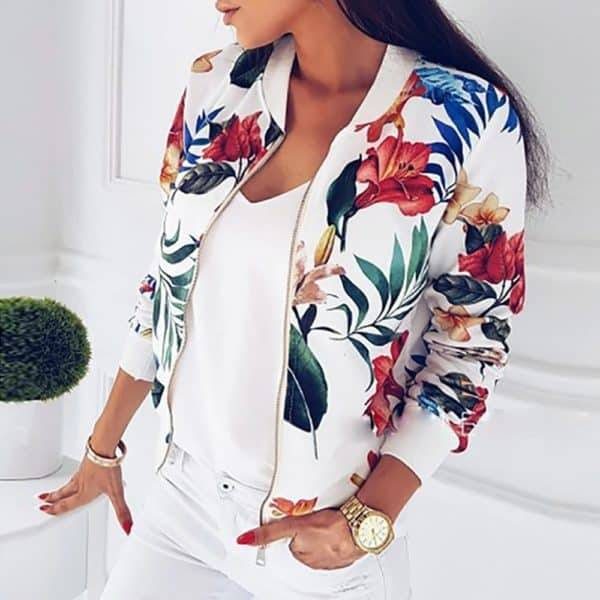 Light Floral Jacket – Blanc
