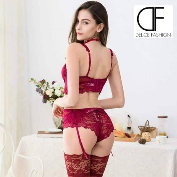 Sexy dentelle push up ensembles soutien-gorge + culotte + jarretière + bas + collier 5 pièces/lots