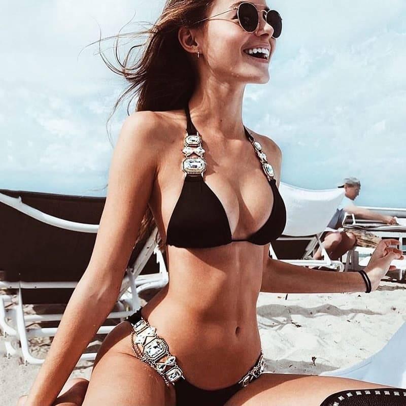 Bikini maillot de bain cristal diamant luxe aristocratique 3