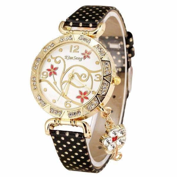Montre femme orchidée Bracelet en cuir diamant Quartz