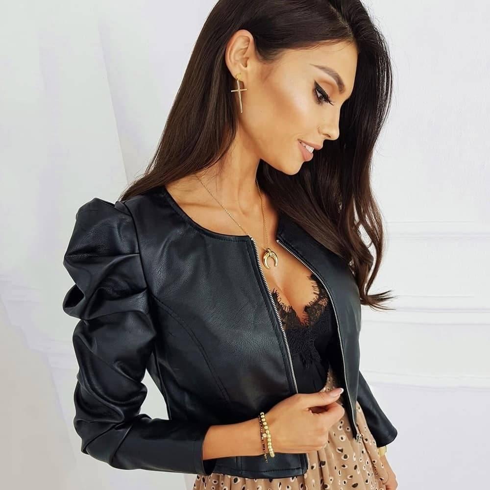 Veste en simili cuir noir 2
