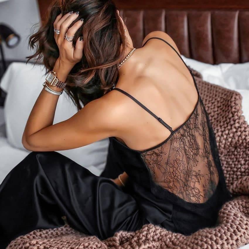 Pyjama Sexy en Satin noir, dos nu, dentelle avec pantalon, ample, bretelles Spaghetti 6