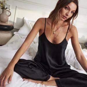 Pyjama Sexy en Satin noir, dos nu, dentelle avec pantalon, ample, bretelles Spaghetti 7