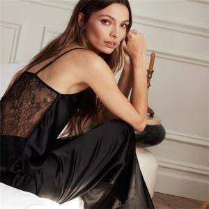 Pyjama Sexy en Satin noir, dos nu, dentelle avec pantalon, ample, bretelles Spaghetti 8