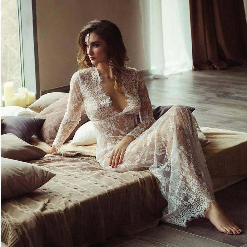 Robe de nuit en dentelle pour femmes Sexy transparente 2