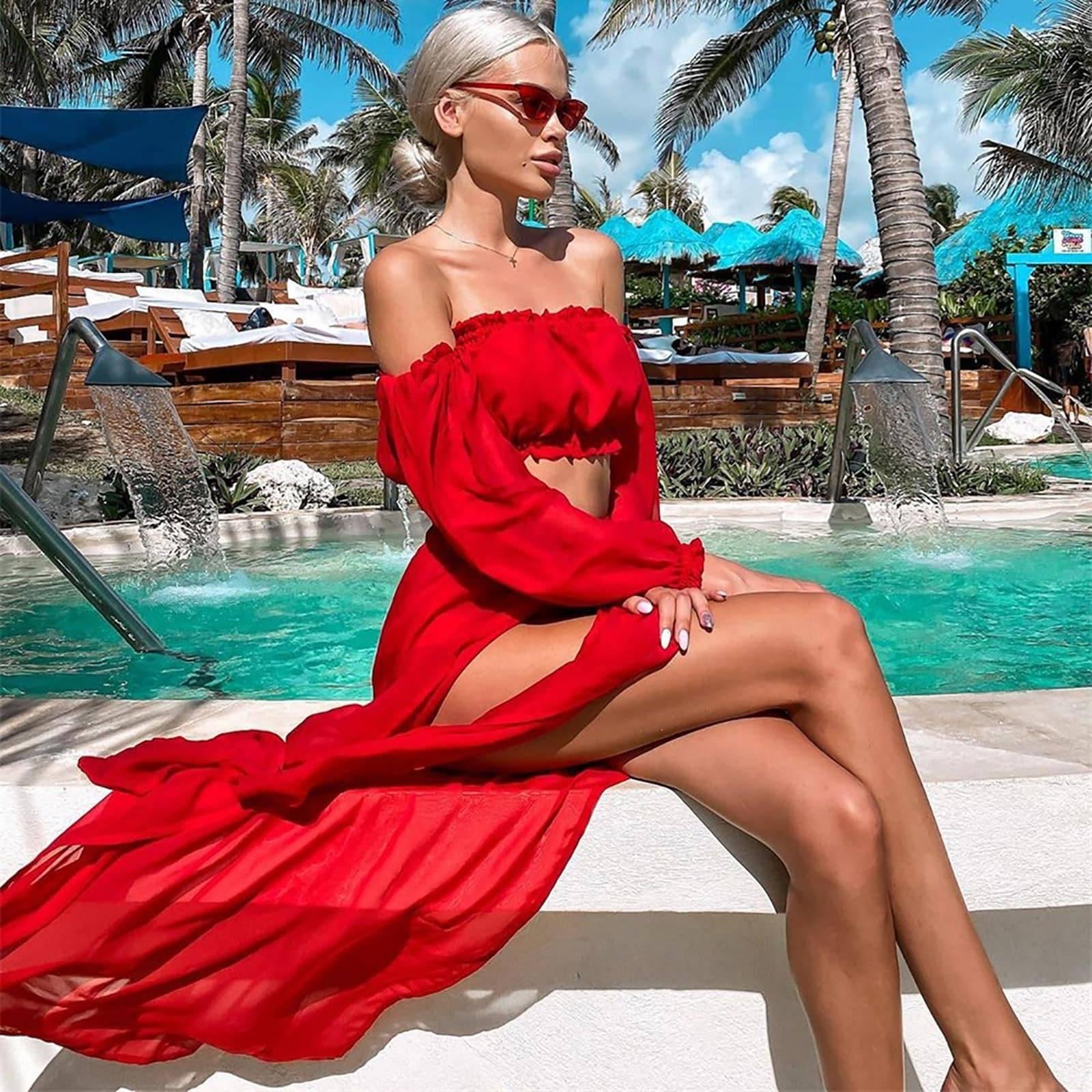 Ensemble robe de plage en maille 4