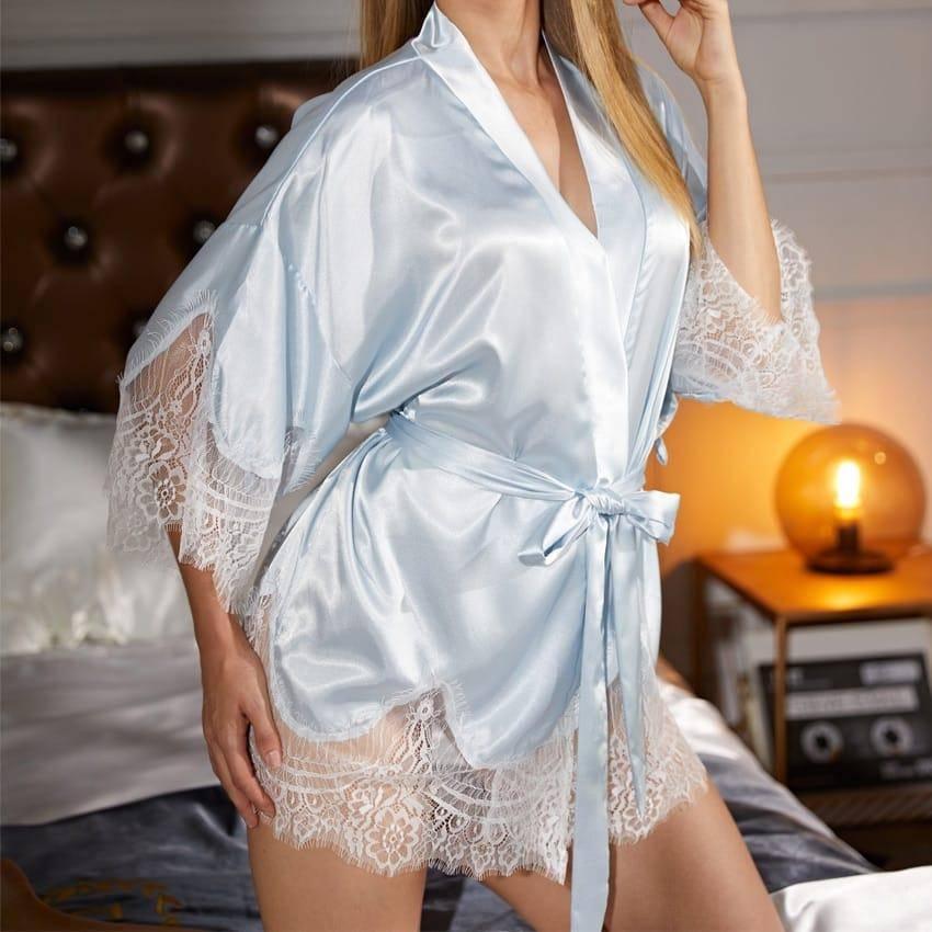 Nuisette en dentelle Satin nuit sexy 4