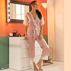 Pyjama ensemble Haut et pantalon en Satin avec ceinture en dentelle 10