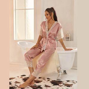 Pyjama ensemble Haut et pantalon en Satin avec ceinture en dentelle 13