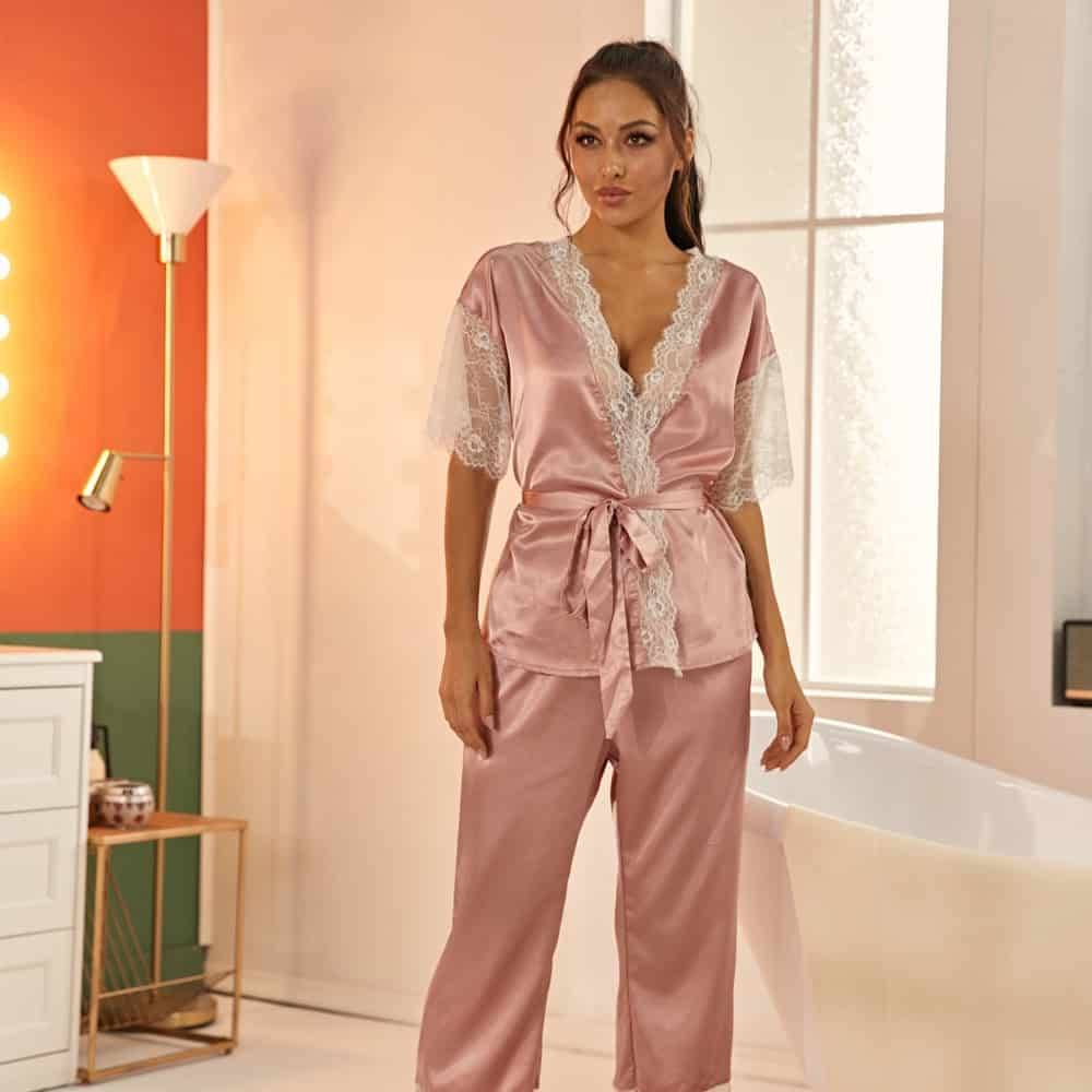 Pyjama ensemble Haut et pantalon en Satin avec ceinture en dentelle 4