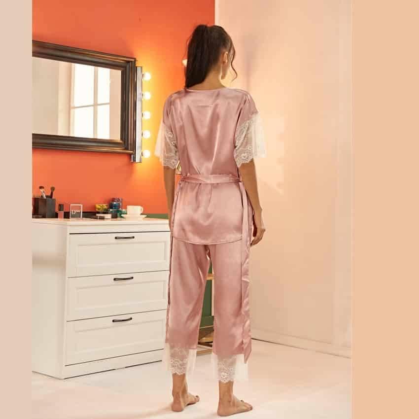 Pyjama ensemble Haut et pantalon en Satin avec ceinture en dentelle 6