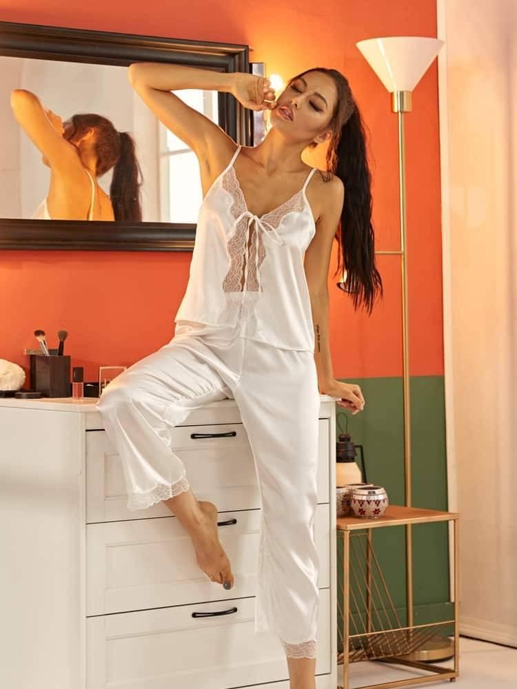 Pyjama ensemble de nuit en Satin dentelle pour femmes 3