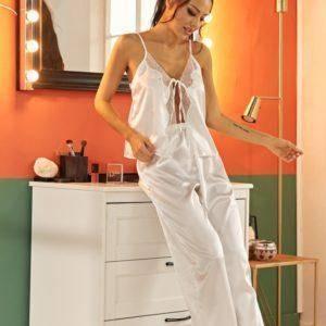 Pyjama ensemble de nuit en Satin dentelle pour femmes 10