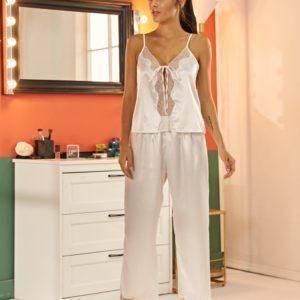 Pyjama ensemble de nuit en Satin dentelle pour femmes 13