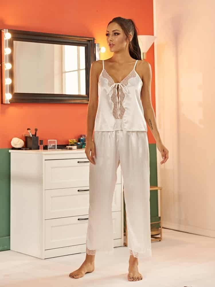 Pyjama ensemble de nuit en Satin dentelle pour femmes 8