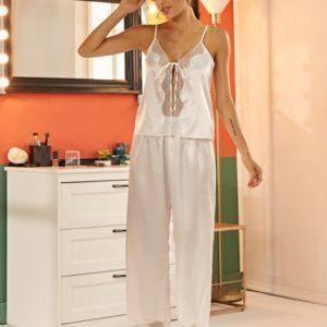 Pyjama ensemble de nuit en Satin dentelle pour femmes 9