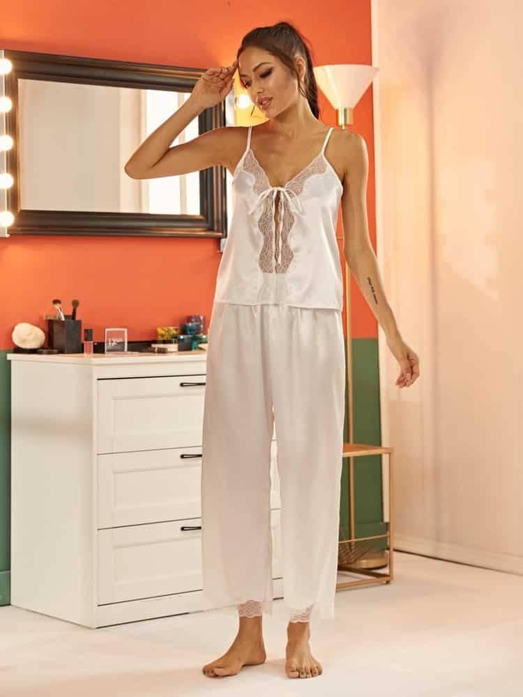 Pyjama ensemble de nuit en Satin dentelle pour femmes 4