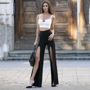 Ensemble pantalon deux pièces Sexy Chic, pantalon blanc et noir, Design à fente haute 4