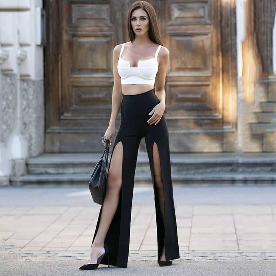 Ensemble pantalon deux pièces Sexy Chic, pantalon blanc et noir, Design à fente haute 2